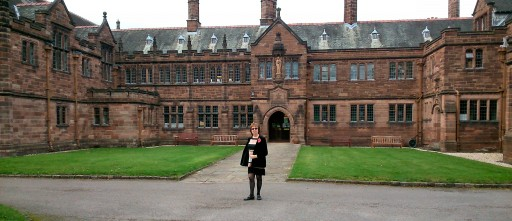 Hearth Gladstone Library with Maggie